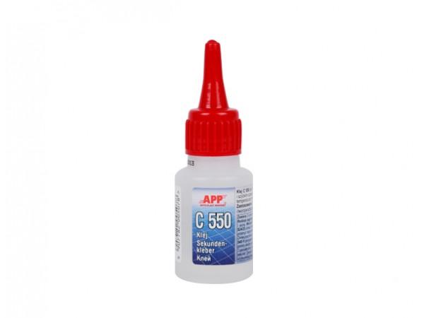 APP C 550> Cyanoacrylate glue pour caoutchouc et plastique 20ml