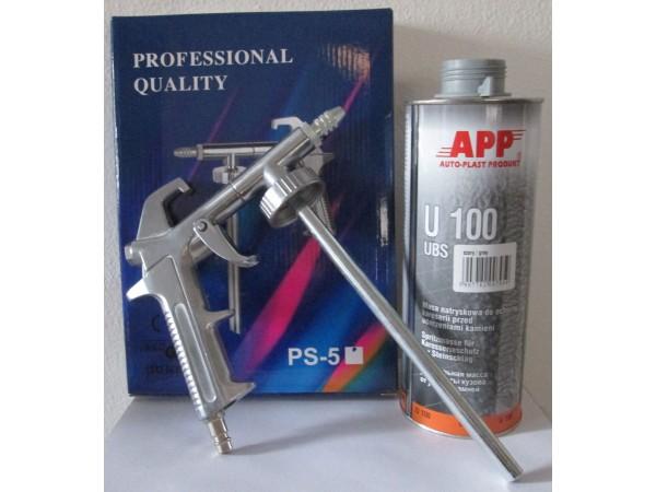 1 pistolet pulverisation + 2 cartouches anti gravillon gris peinture automobile
